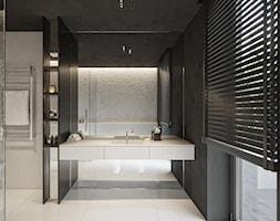 Rezydencja pod Poznaniem - Średnia czarna łazienka w bloku w domu jednorodzinnym z oknem, styl nowo ... - zdjęcie od Katarzyna Kraszewska Architektura Wnętrz - Homebook