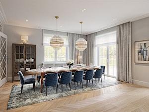 FAMILY HOME - Duża otwarta szara jadalnia jako osobne pomieszczenie, styl klasyczny - zdjęcie od Katarzyna Kraszewska Architektura Wnętrz