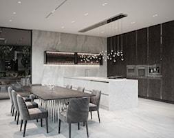 Rezydencja pod Poznaniem - Duża otwarta szara kuchnia w kształcie litery l z wyspą, styl nowoczesny - zdjęcie od Katarzyna Kraszewska Architektura Wnętrz - Homebook
