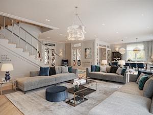 FAMILY HOME - Duży szary salon z jadalnią, styl klasyczny - zdjęcie od Katarzyna Kraszewska Architektura Wnętrz