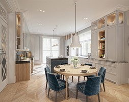 FAMILY HOME - Duża otwarta szara kuchnia dwurzędowa z wyspą z oknem, styl klasyczny - zdjęcie od Katarzyna Kraszewska Architektura Wnętrz