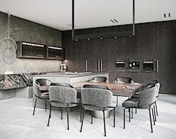 Rezydencja pod Poznaniem - Duża brązowa kuchnia w kształcie litery l w aneksie z wyspą, styl nowoczesny - zdjęcie od Katarzyna Kraszewska Architektura Wnętrz