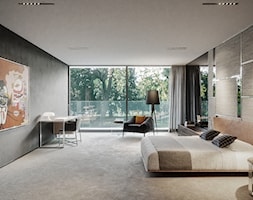 Rezydencja pod Poznaniem - Duża beżowa czarna sypialnia małżeńska, styl nowoczesny - zdjęcie od Katarzyna Kraszewska Architektura Wnętrz - Homebook