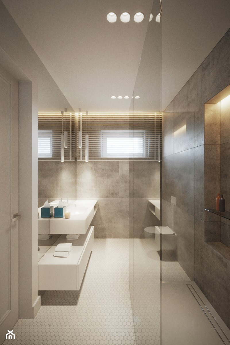 Modernistyczna Willa - Średnia szara łazienka na poddaszu w bloku w domu jednorodzinnym z oknem, styl nowoczesny - zdjęcie od Katarzyna Kraszewska Architektura Wnętrz