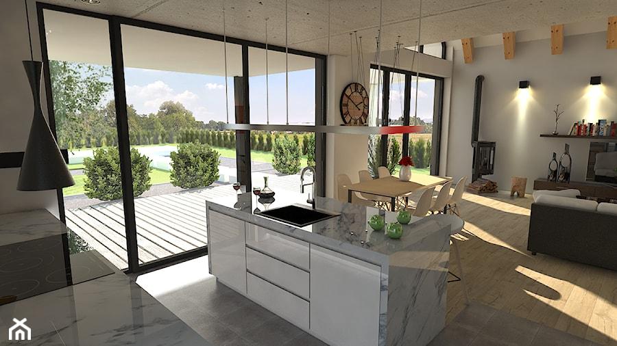 Salon I Kuchnia W Domu Jednorodzinnym Otwarta Kuchnia Z
