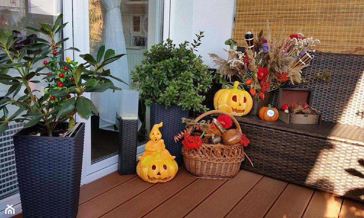 dekoracje na jesień przed domem dynia
