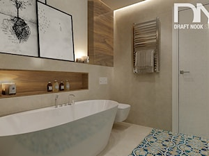 Łazienka 4 - Średnia beżowa łazienka na poddaszu w bloku w domu jednorodzinnym bez okna, styl eklektyczny - zdjęcie od Draft Nook Studio Daria Gołębiowska