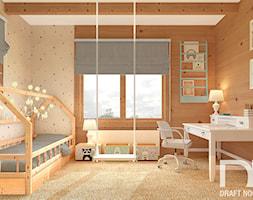Pokój dziecka w domu z bali - Średni szary pokój dziecka dla chłopca dla dziewczynki dla ucznia dla malucha dla nastolatka, styl rustykalny - zdjęcie od Draft Nook Studio Daria Gołębiowska