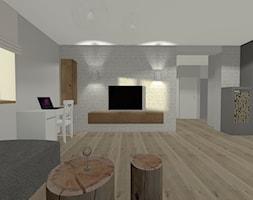 Dom na Mazurach - Duży biały salon, styl skandynawski - zdjęcie od Monika Deptuła Projektant Wnętrz