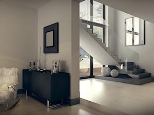 D. House 3 - Średnie wąskie schody dwubiegowe szklane betonowe - zdjęcie od OMCD Architects