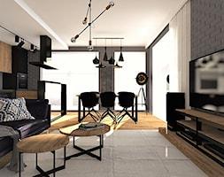 Salon z szarą cegła - zdjęcie od Base Architekci