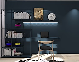 Mieszkanie w stylu Mid-century modern - Średnie turkusowe biuro domowe kącik do pracy w pokoju, styl nowoczesny - zdjęcie od Base Architekci