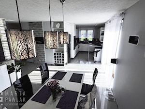 Dom Jednorodzinny Kowale - Średnia otwarta szara jadalnia jako osobne pomieszczenie, styl nowoczesny - zdjęcie od MARTA PAWLAK ARCHITEKTURA WNĘTRZ