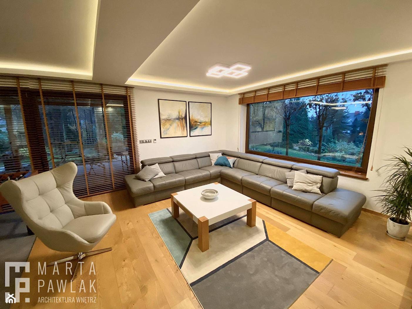 Dom Jednorodzinny w Pogórzu - Realizacja - Salon, styl nowoczesny - zdjęcie od MARTA PAWLAK ARCHITEKTURA WNĘTRZ - Homebook