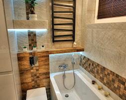 Mieszkanie Dąbrowa Górnicza - realizacja - Mała łazienka w bloku w domu jednorodzinnym z oknem, styl nowoczesny - zdjęcie od MARTA PAWLAK ARCHITEKTURA WNĘTRZ