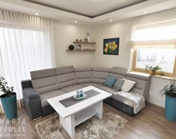 Dom Jednorodzinny Wisła 02 -realizacja - Mały szary salon, styl tradycyjny - zdjęcie od MARTA PAWLAK ARCHITEKTURA WNĘTRZ