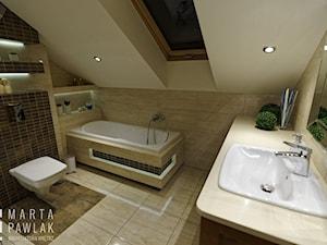 Mieszkanie na poddaszu Brenna - realizacja - Średnia biała beżowa brązowa łazienka na poddaszu w domu jednorodzinnym z oknem, styl klasyczny - zdjęcie od MARTA PAWLAK ARCHITEKTURA WNĘTRZ