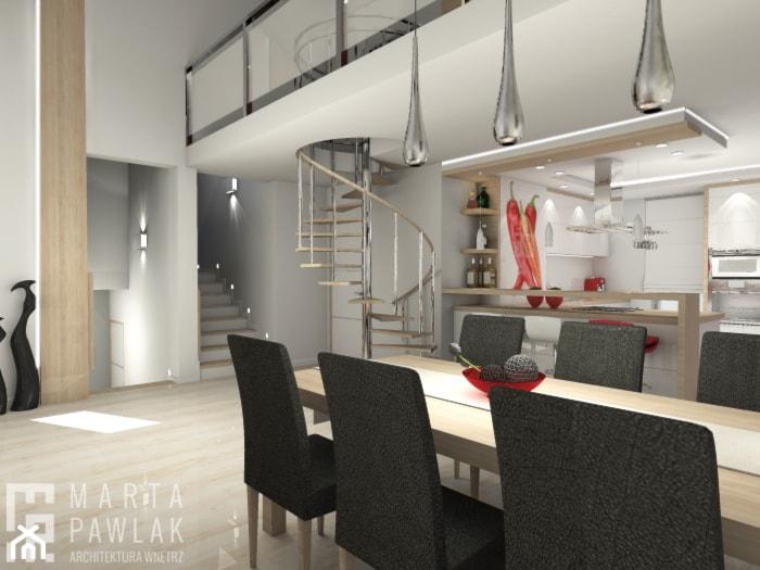 Dom Pruchna - Duża otwarta szara jadalnia jako osobne pomieszczenie - zdjęcie od MARTA PAWLAK ARCHITEKTURA WNĘTRZ - Homebook