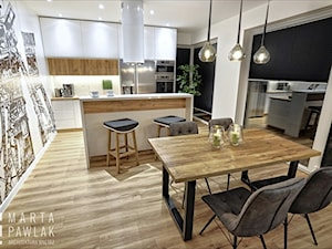 Dom Jednorodzinny Katowice - Średnia otwarta biała jadalnia w kuchni, styl nowoczesny - zdjęcie od MARTA PAWLAK ARCHITEKTURA WNĘTRZ