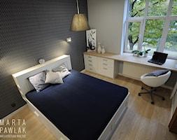Mieszkanie w kamienicy Cieszyn - Realizacja - Mała biała czarna sypialnia małżeńska, styl nowoczesny - zdjęcie od MARTA PAWLAK ARCHITEKTURA WNĘTRZ