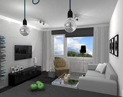 Projekt mieszkania w Zielonej Górze - Mały szary biały salon z bibiloteczką, styl nowoczesny - zdjęcie od K&K Pracownia Projektowania Wnętrz
