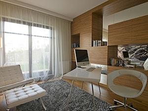 Dom prywatny w Redłowie 2010 - Średnie beżowe biuro pracownia w pokoju, styl nowoczesny - zdjęcie od formativ. kasia i michał dudko