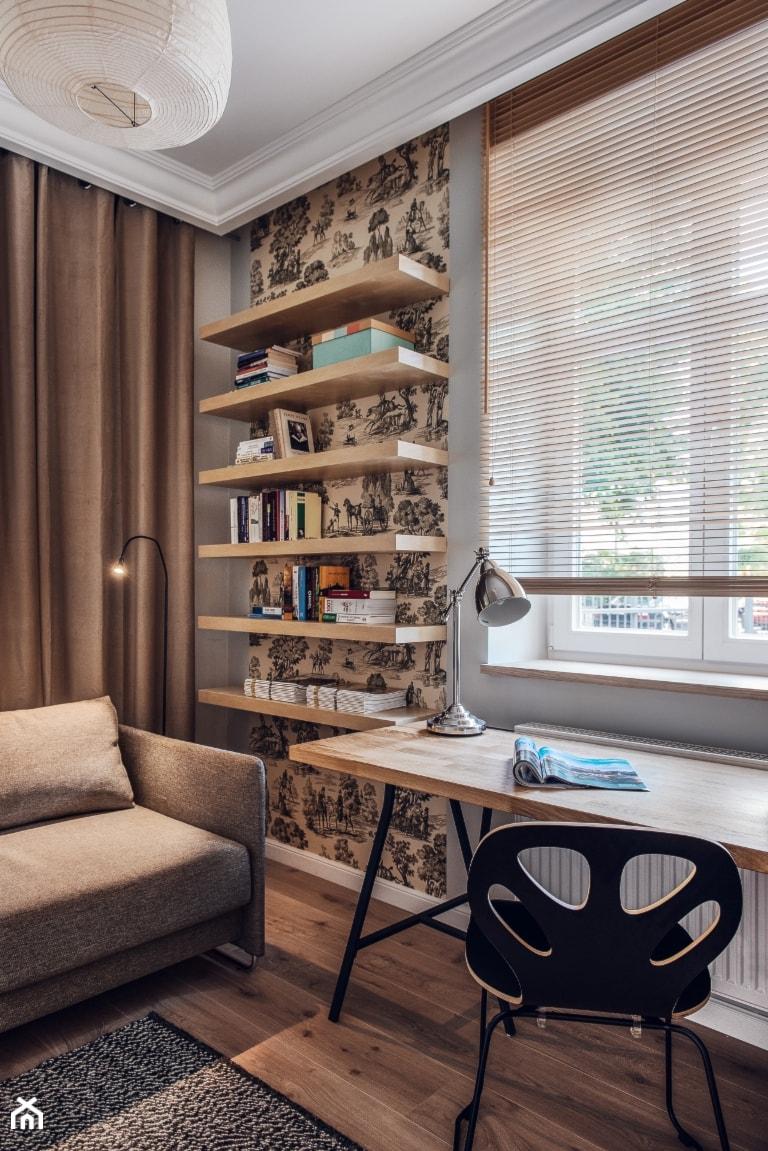 Dom prywatny 2013 - Średnie szare biuro domowe w pokoju, styl skandynawski - zdjęcie od formativ. kasia i michał dudko