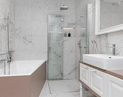 Zdjęcia z realizacji projektu - Klasyka w nowym wydaniu - Średnia łazienka w bloku w domu jednorodzinnym bez okna, styl klasyczny - zdjęcie od MOTIF DESIGN
