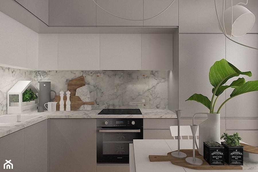 Polna-Północ - Mała otwarta szara kuchnia w kształcie litery l, styl skandynawski - zdjęcie od MOTIF DESIGN