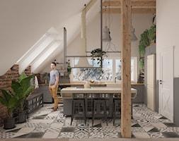 Kuchnia w stylu loft - Średnia zamknięta biała szara kuchnia w kształcie litery l z wyspą z oknem, styl industrialny - zdjęcie od MOTIF DESIGN
