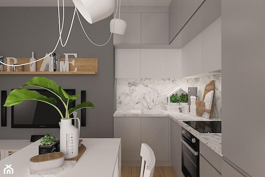 Polna-Północ - Mała biała szara kuchnia w kształcie litery l w aneksie, styl skandynawski - zdjęcie od MOTIF DESIGN