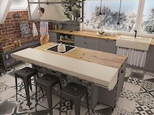 Kuchnia w stylu loft - Średnia zamknięta czarna kuchnia jednorzędowa z wyspą z oknem, styl industrialny - zdjęcie od MOTIF DESIGN