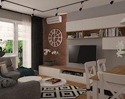 Projekt z czerwoną cegłą - Mały szary salon z jadalnią, styl skandynawski - zdjęcie od MOTIF DESIGN
