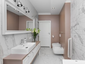 Zdjęcia z realizacji projektu - Klasyka w nowym wydaniu - Średnia brązowa szara łazienka w bloku w domu jednorodzinnym bez okna, styl klasyczny - zdjęcie od MOTIF DESIGN