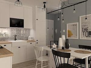 Stary Osmolin - Średnia otwarta szara kuchnia w kształcie litery l, styl skandynawski - zdjęcie od MOTIF DESIGN