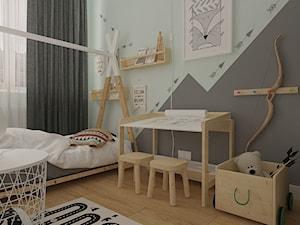 Polna-Północ - Mały szary pokój dziecka dla chłopca dla dziewczynki dla ucznia dla malucha, styl skandynawski - zdjęcie od MOTIF DESIGN