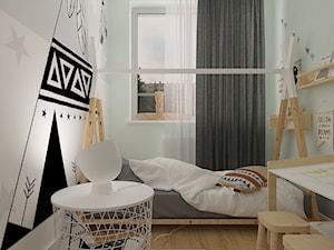 Polna-Północ - Mały biały szary miętowy pokój dziecka dla malucha, styl skandynawski - zdjęcie od MOTIF DESIGN