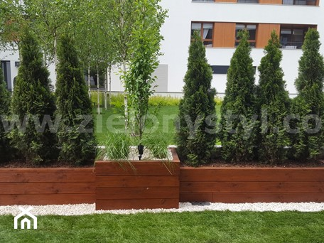 Aranżacje wnętrz - Ogród: Donice z drewna - Zielony Styl -Projektowanie, realizacja ogrodów i tarasów. Przeglądaj, dodawaj i zapisuj najlepsze zdjęcia, pomysły i inspiracje designerskie. W bazie mamy już prawie milion fotografii!