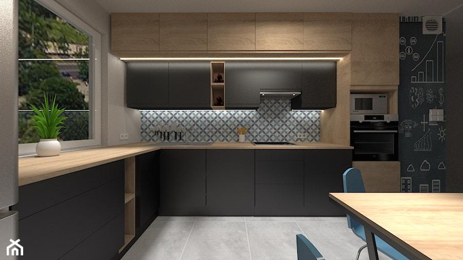 Mała czarna kuchnia - Średnia szara czarna kuchnia w kształcie litery l w aneksie z oknem, styl skandynawski - zdjęcie od Cudotwórcy