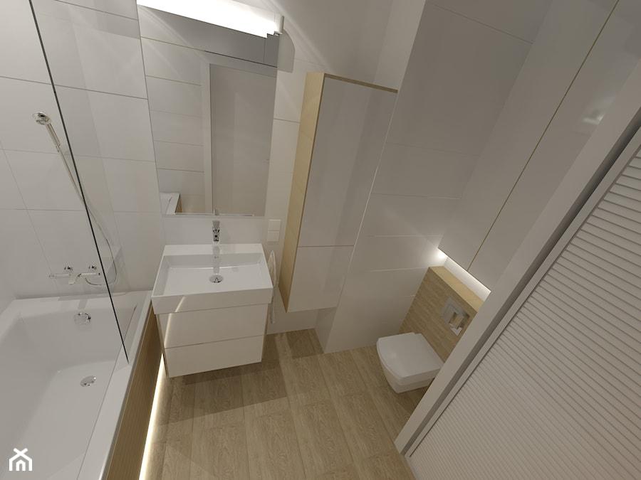 Biel i drewno - Średnia biała łazienka w bloku w domu jednorodzinnym bez okna, styl skandynawski - zdjęcie od Agata Grajczak