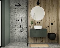 Projekt wnętrza poniemieckiego domu 200m2 we Wrocławiu - Średnia szara zielona łazienka, styl eklektyczny - zdjęcie od troomono