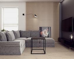 UniFlat (mieszkanie do wynajęcia) - Mały szary czarny salon, styl nowoczesny - zdjęcie od KROX'BOX