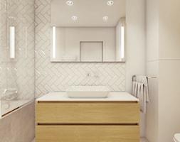 GreyBeige - Mała biała łazienka w bloku w domu jednorodzinnym bez okna - zdjęcie od KROX'BOX