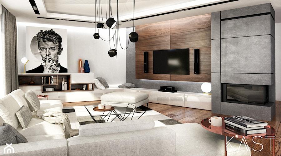 Drewno Beton Salon Styl Nowoczesny Zdjęcie Od Kast Design