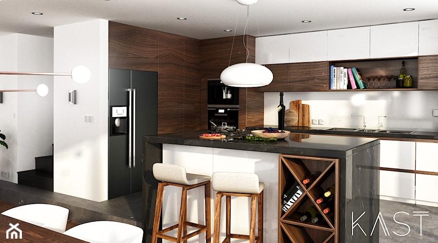 Drewno Beton Duża Otwarta Biała Brązowa Kuchnia W Kształcie
