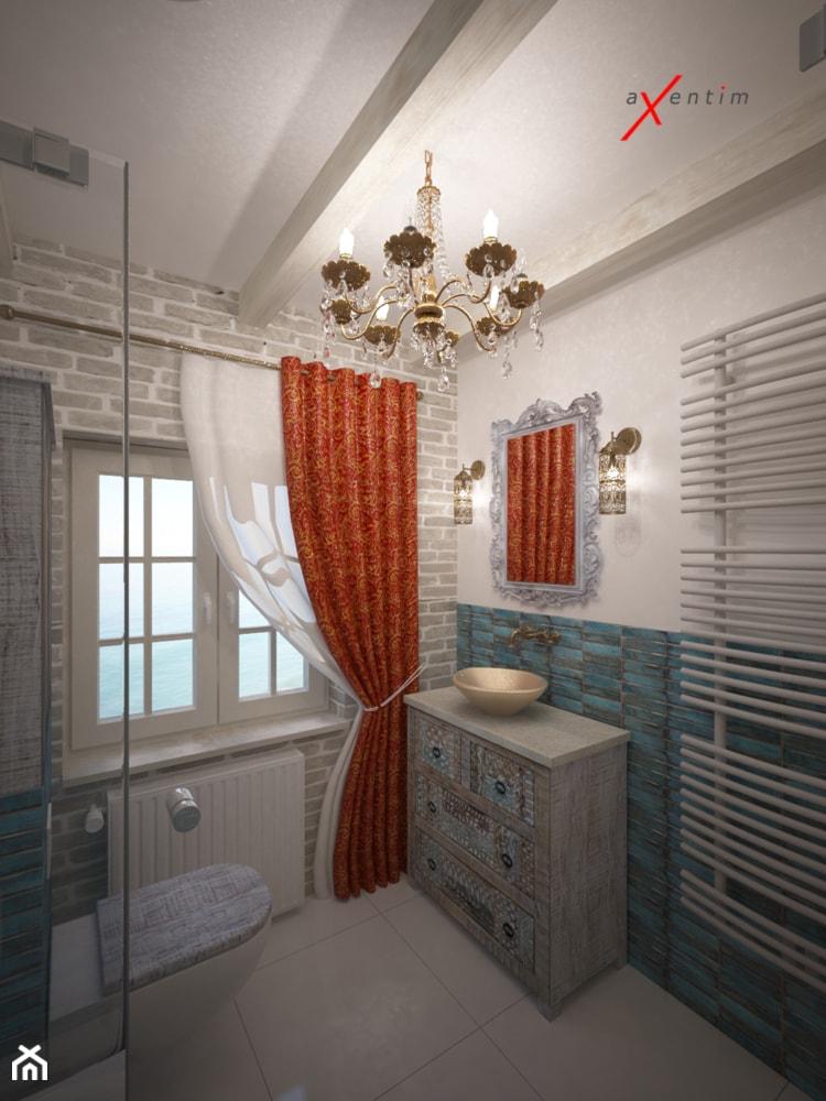 Łazienka - Średnia beżowa łazienka w bloku w domu jednorodzinnym z oknem, styl rustykalny - zdjęcie od Axentim