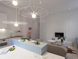 mieszkanie w kamienicy/46m2/Poznań - Średnia otwarta szara jadalnia w kuchni - zdjęcie od KREACJA PRZESTRZENI Anna Matuszewska-Janik
