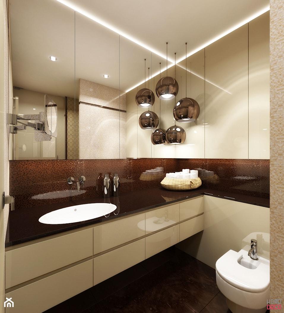 COPPER BALL - 8m2 - Mała biała czarna łazienka na poddaszu w bloku w domu jednorodzinnym bez okna, styl nowoczesny - zdjęcie od HOMO DECO Katarzyna Maciejewska - Homebook