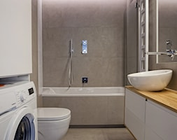   PRZYTULNY MINIMALIZM   - Średnia beżowa łazienka w bloku w domu jednorodzinnym bez okna, styl minimalistyczny - zdjęcie od URZĄDZARNIA Marta Lebiedzińska