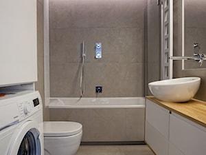 | PRZYTULNY MINIMALIZM | - Średnia beżowa łazienka w bloku w domu jednorodzinnym bez okna, styl minimalistyczny - zdjęcie od URZĄDZARNIA Marta Lebiedzińska